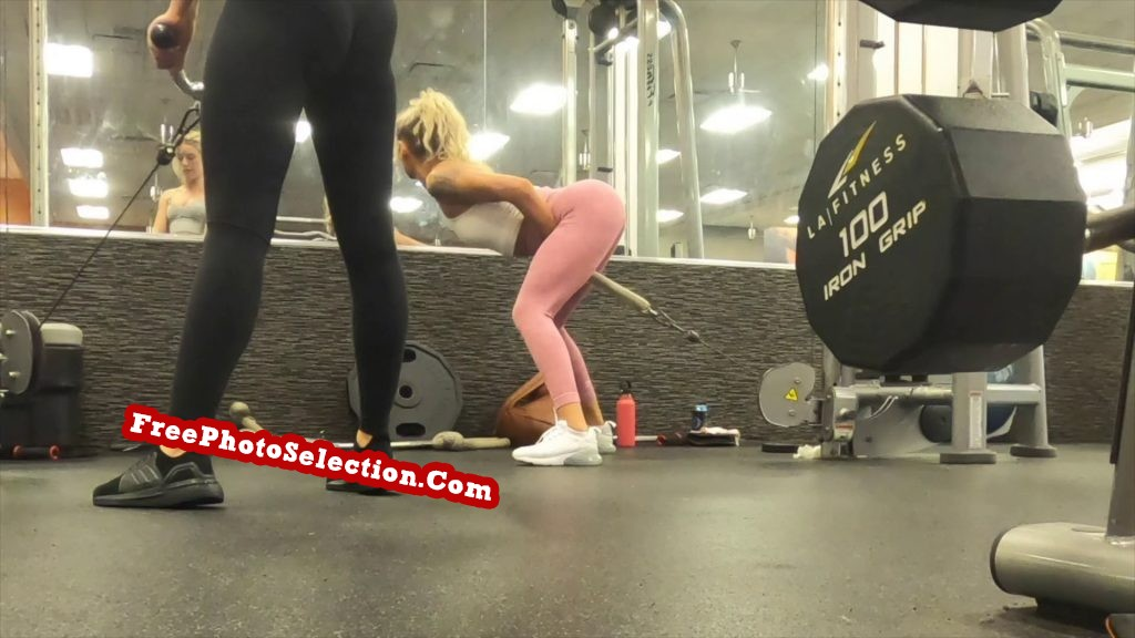 Bent over during workout like she is having sex